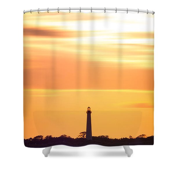 Cape May Lighthouse Narrow Long Exposure  Shower Curtain