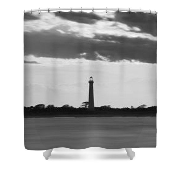 Cape May Lighthouse Sunset Panorama Bw Shower Curtain