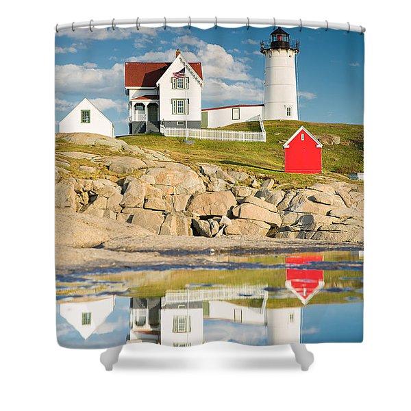 Cape Neddick Light  Reflections Shower Curtain