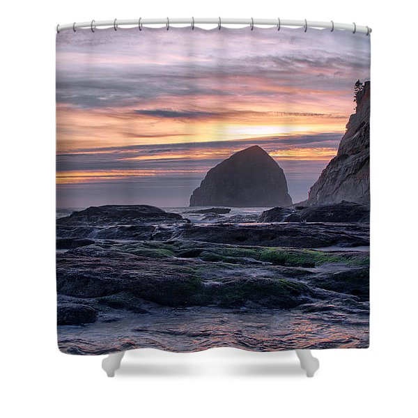 Cape Rocks And Surf Sunset Shower Curtain