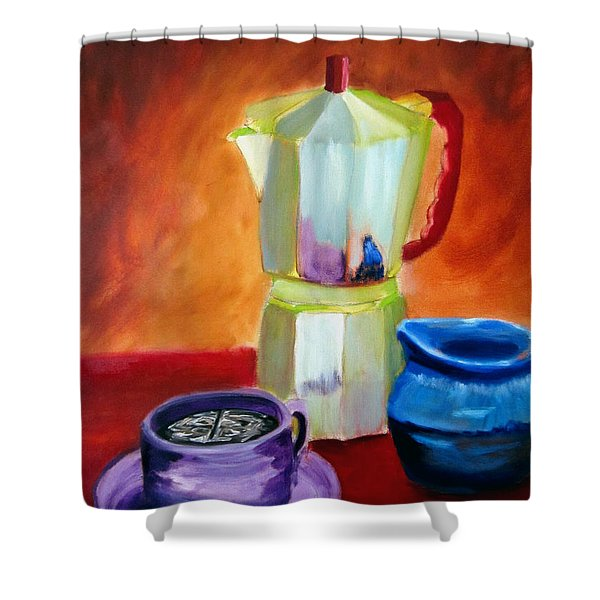 Shower Curtain featuring the painting Cappuccino Morning by Keith Thue