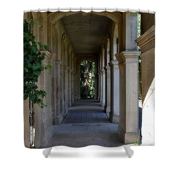 Shower Curtain featuring the photograph Captain Cook Museum Walkway by Scott Lyons