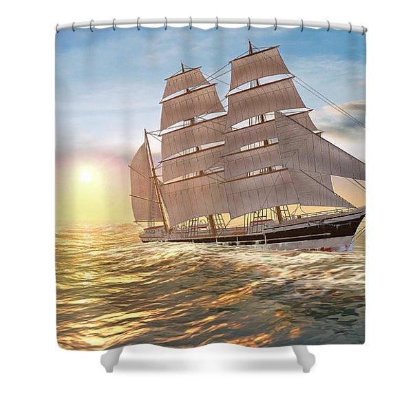 Captain Larry Paine Clippership Shower Curtain