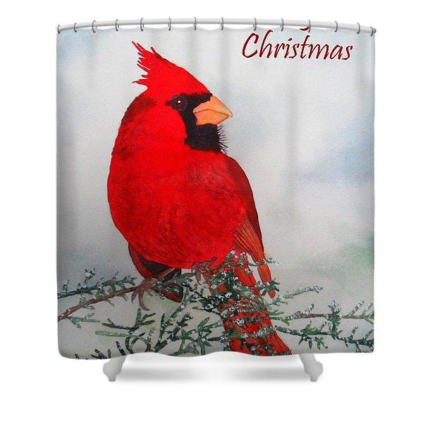 Cardinal Merry Christmas Shower Curtain