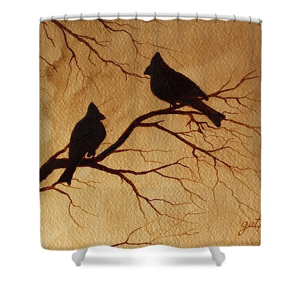Cardinals Silhouettes Coffee Painting Shower Curtain