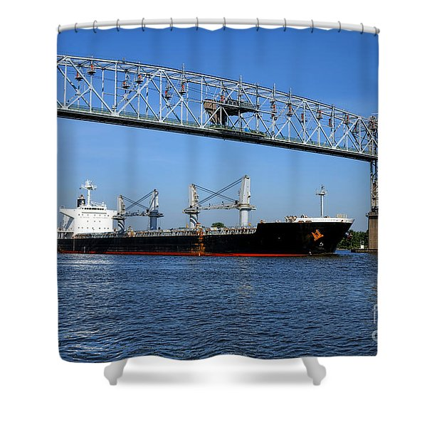 Cargo Ship Under Bridge Shower Curtain
