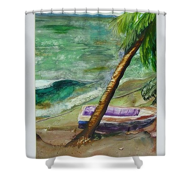Shower Curtain featuring the painting Caribbean Morning II by Keith Thue