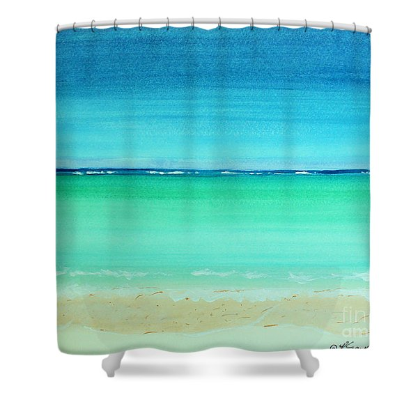 Caribbean Ocean Turquoise Waters Abstract Shower Curtain