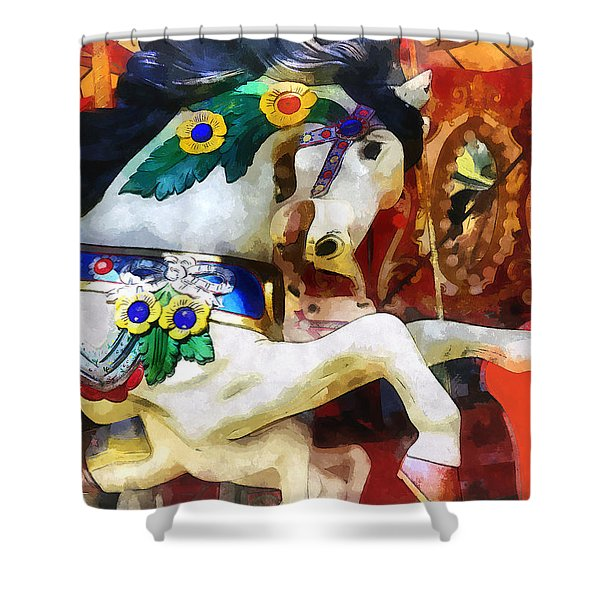 Carousel Horse Closeup Shower Curtain