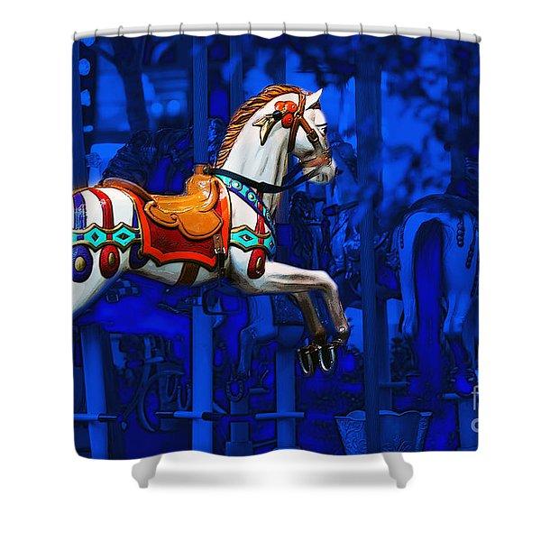 Shower Curtain featuring the photograph Carousel Horse by Gunter Nezhoda