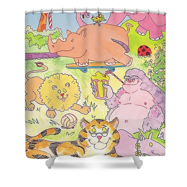 Cartoon Animals Shower Curtain