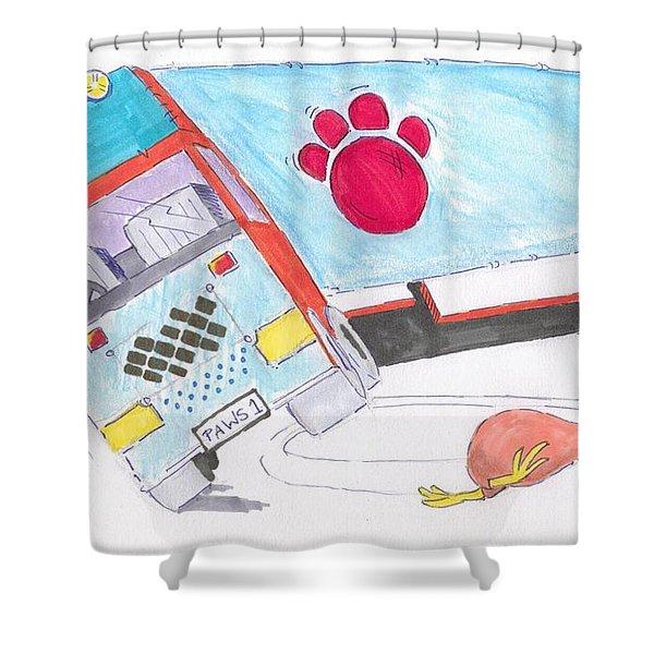 Cartoon Truck Lorry Shower Curtain