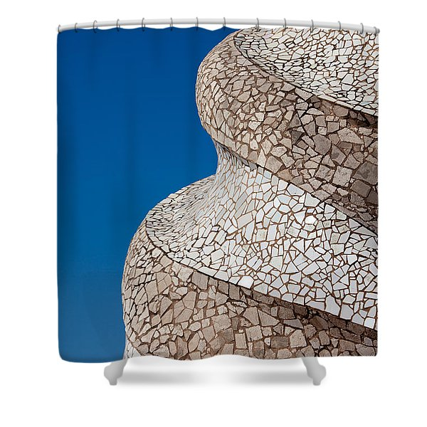 Casa Mila Abstract Chimney Detail In Barcelona Shower Curtain