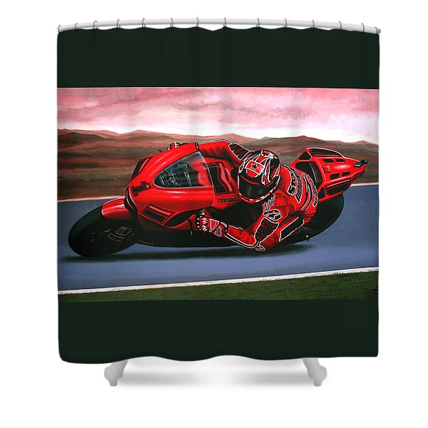 Casey Stoner On Ducati Shower Curtain