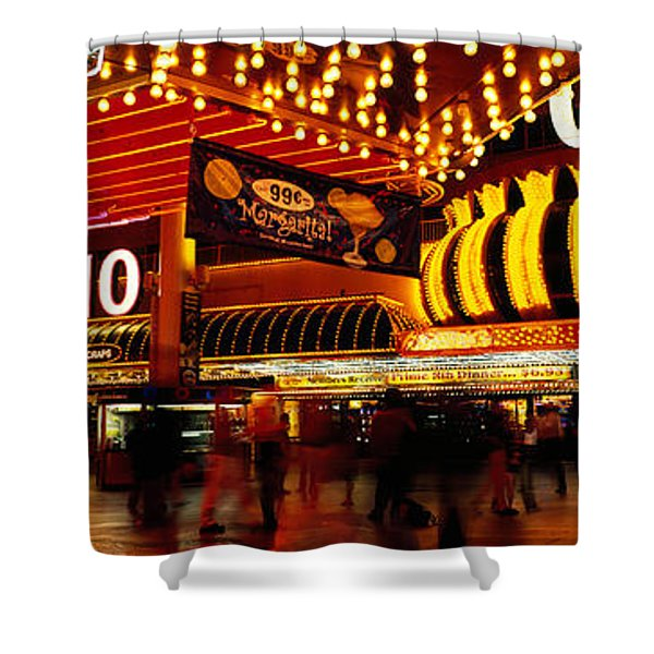 Casino Lit Up At Night, Four Queens Shower Curtain