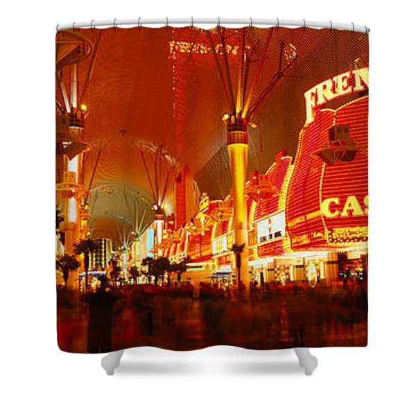 Casino Lit Up At Night, Fremont Street Shower Curtain