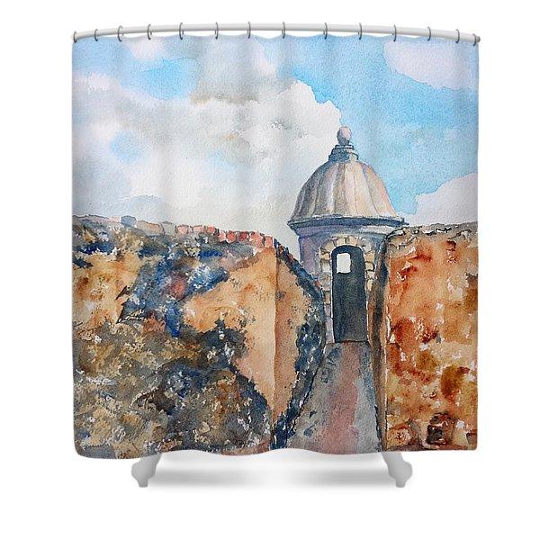 Castillo De San Cristobal Sentry Door Shower Curtain
