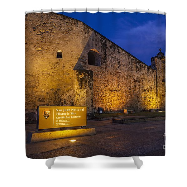 Shower Curtain featuring the photograph Castillo San Cristobal In Old San Juan Puerto Rico by Bryan Mullennix