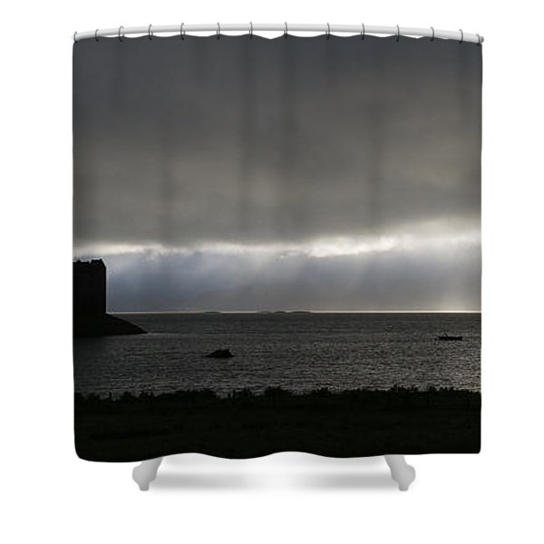 Castle Stalker Moody Panorama Shower Curtain