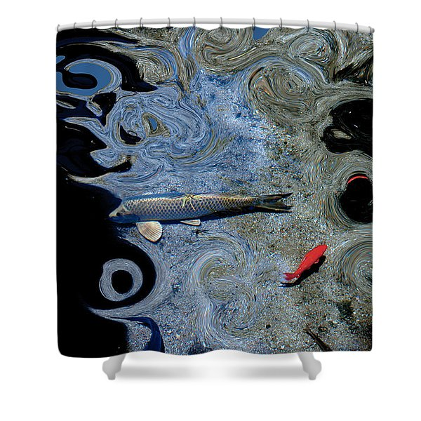 Cat And Koi Blue Shower Curtain