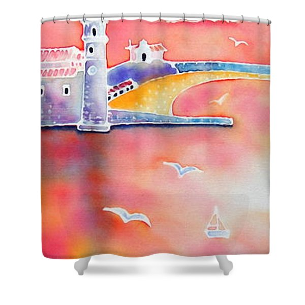 Catalan Sunset Shower Curtain