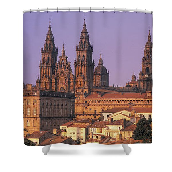 Cathedral In A Cityscape, Santiago De Shower Curtain