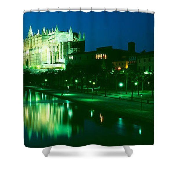 Cathedral Lit Up At Night, Palma Shower Curtain
