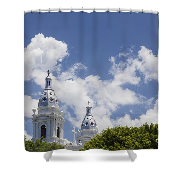Shower Curtain featuring the photograph Cathedral Nuestra Senora De Guadalupe In Ponce by Bryan Mullennix