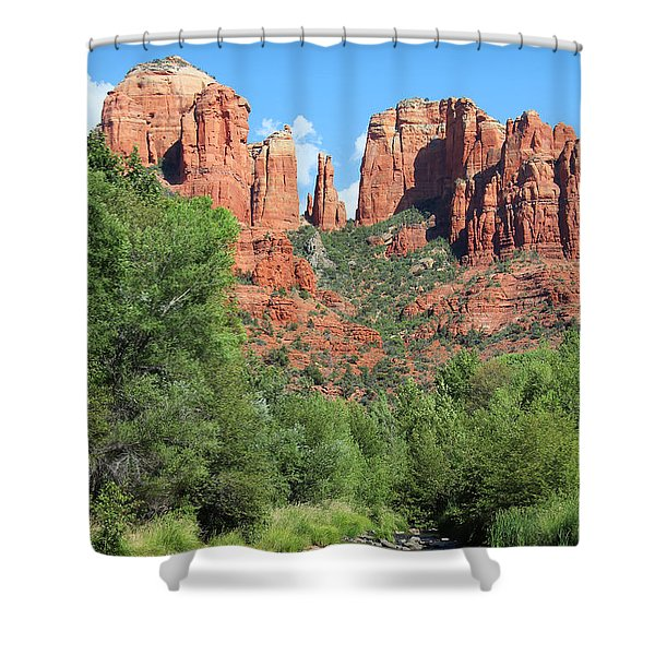 Shower Curtain featuring the photograph Cathedral Rock Sedona by Jemmy Archer