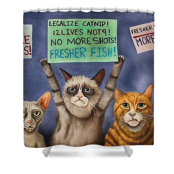 Cats On Strike Edit 3 Shower Curtain
