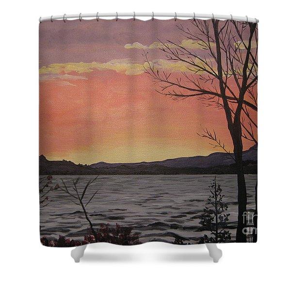 Caucomgomoc Lake Sunset In Maine Shower Curtain