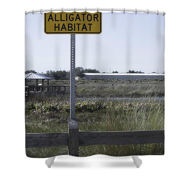 Caution Alligator Habitat Shower Curtain