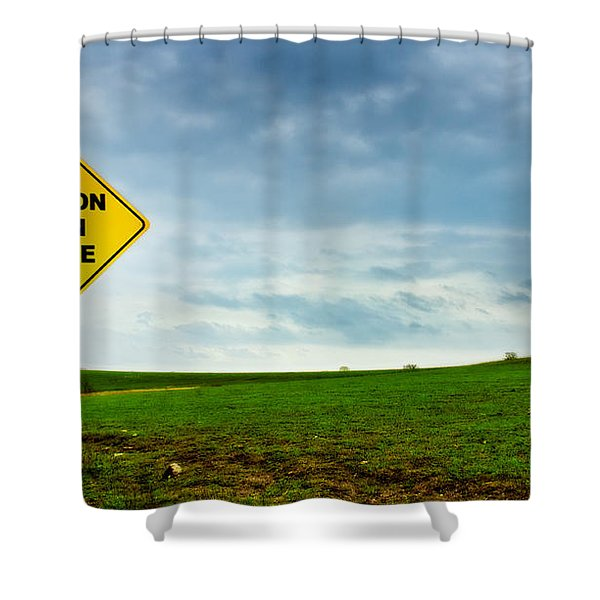 Caution Open Range Shower Curtain