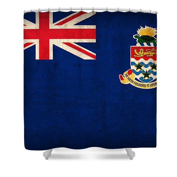 Cayman Islands Flag Vintage Distressed Finish Shower Curtain
