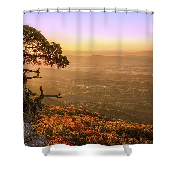 Cedar Tree Atop Mt. Magazine - Arkansas - Autumn Shower Curtain