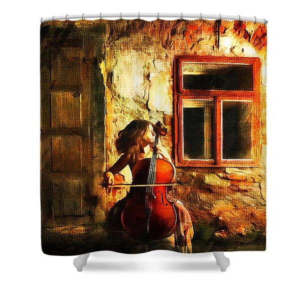 Cellist By Night Shower Curtain