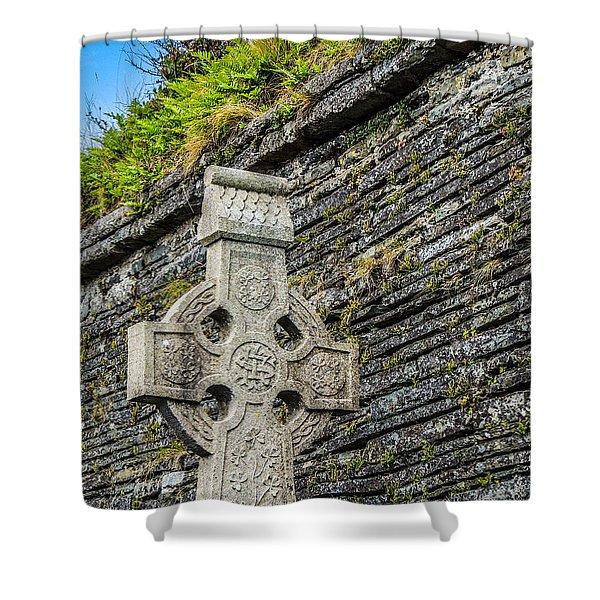 Celtic Cross At Kilmurry-ibrickan Church Shower Curtain