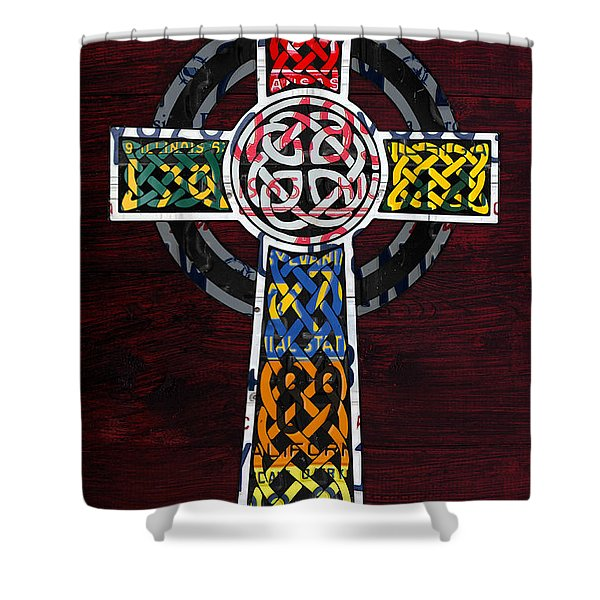 Celtic Cross License Plate Art Recycled Mosaic On Wood Board Shower Curtain