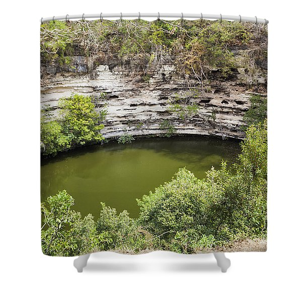 Shower Curtain featuring the photograph Cenote Sagrado At Chichen Itza by Bryan Mullennix