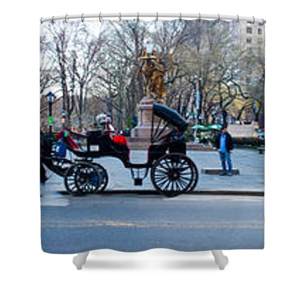 Central Park Horse Carriage Station Panorama Shower Curtain