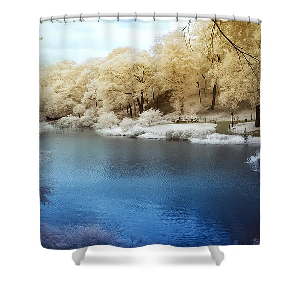 Central Park Lake Infrared Shower Curtain