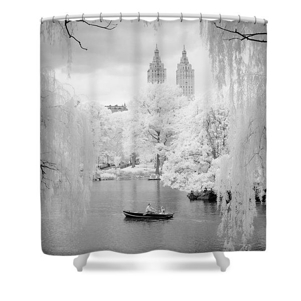 Central Park Lake-infrared Willows Shower Curtain