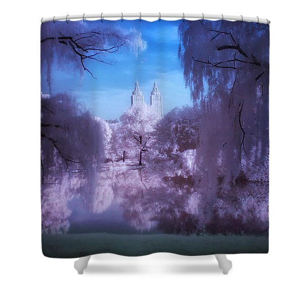 Central Park Lake Willows Color Shower Curtain