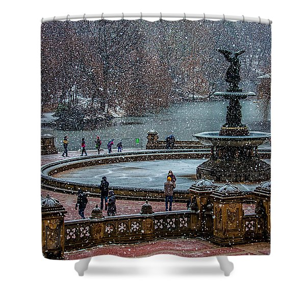 Central Park Snow Storm Shower Curtain