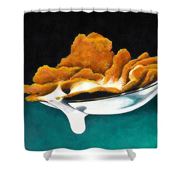 Cereal In Spoon With Milk Shower Curtain