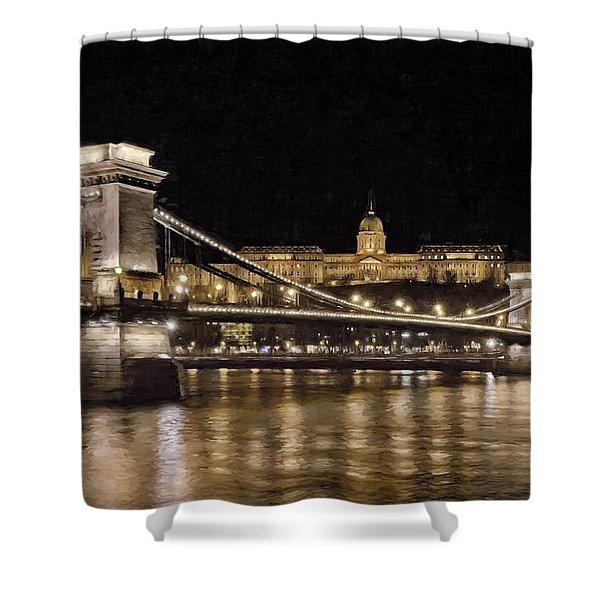 Chain Bridge And Buda Castle Winter Night Painterly Shower Curtain