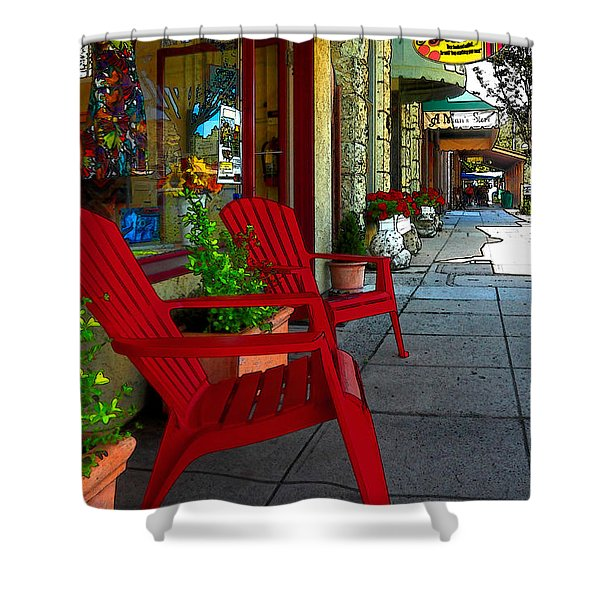 Chairs On A Sidewalk Shower Curtain