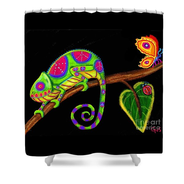 Chameleon And Ladybug Shower Curtain