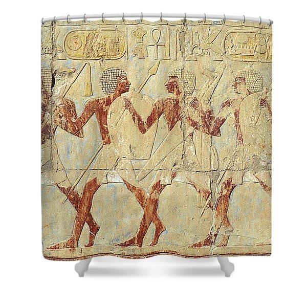 Chapel Of Hathor Hatshepsut Nubian Procession Soldiers - Digital Image -fine Art Print-ancient Egypt Shower Curtain