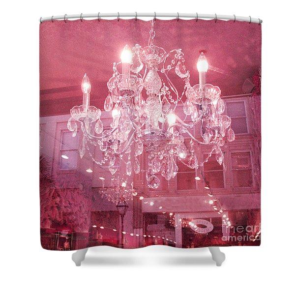 Charleston Crystal Chandelier - Sparkling Pink Crystal Chandelier Art Deco Shower Curtain